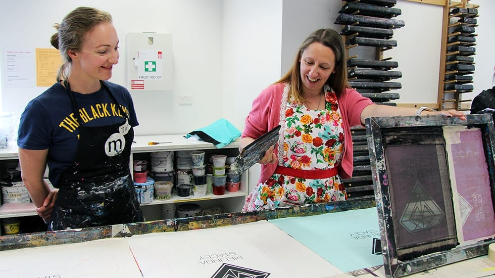 IGNITE participants at Megalo Print Studio in 2017.