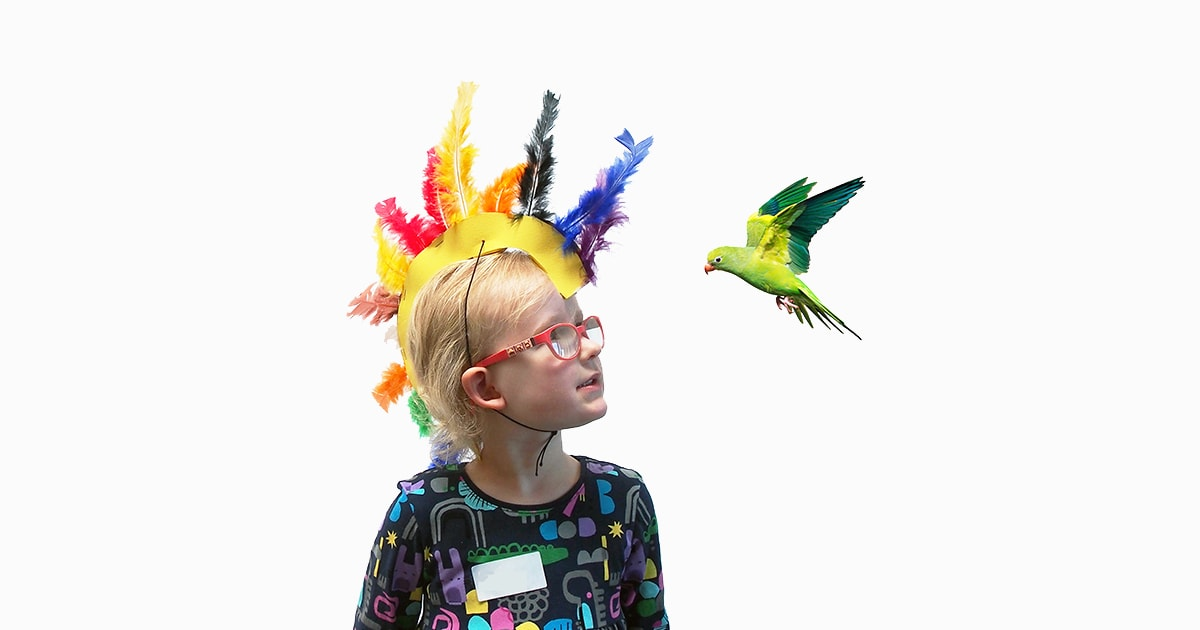 Child with colourful feather hat looking at flying green bird