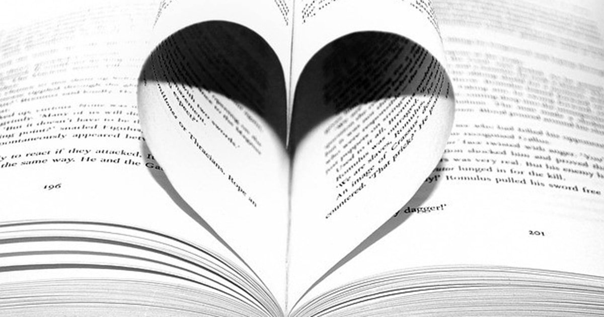 Pages of a book are folded into a heart shape