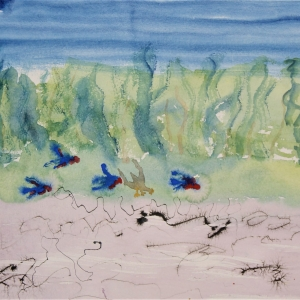 Watercolour on paper evokes views of birds by the lake.