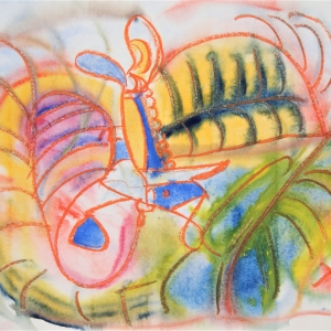 Abstract drawing in watercolour crayon and paint on paper featuring strong fluid lines