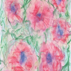 Loose pastel drawing of six pink flowers with blue centres surrounded by green marks suggesting foilage.