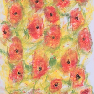 Loose drawing in pastel of orange poppies with black centres on a background of yellow with green marks suggesting leaves.