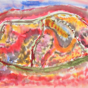 Abstract watercolour on paper.