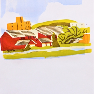 A view of the hospital from Woden Valley, first in a series of two screen prints.