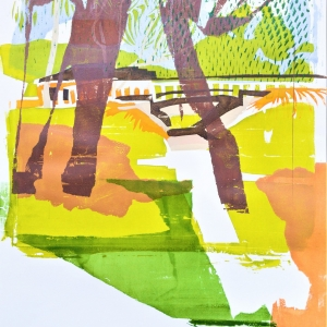 An underpass from the bush to suburbia, second in a series of two screen prints.