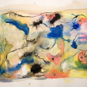Abstract composition of watercolour and ink applied on wet paper.