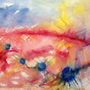 Loosely brushed primary coloured watercolours on wet paper.