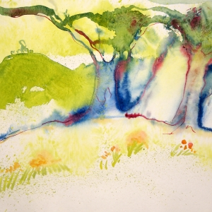 Delicate watercolour on paper, depicting a landscape rendered using decisive marks and fluid effects
