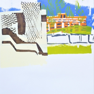 View of Canberra Hospital. Second in a series of three unique screen prints.