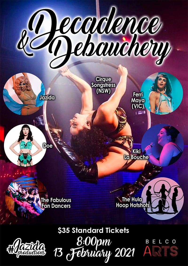 Poster featuring promotional images of burlesque performers in colourful costumes