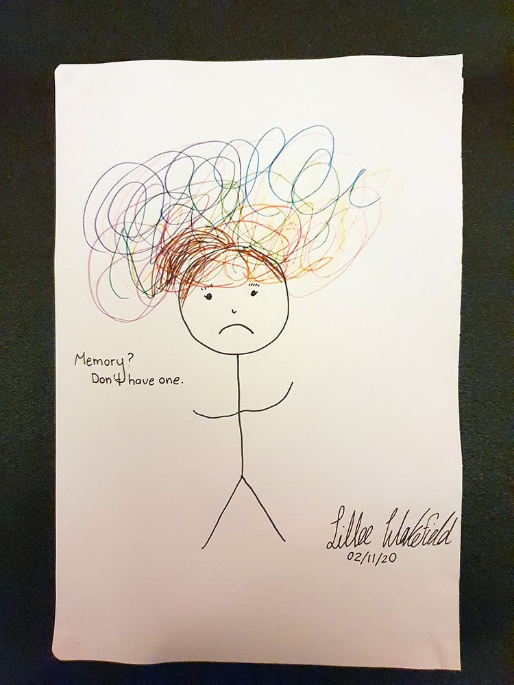 Signed and dated sketch of sad stick figure with brown hair and scribble on and around the head. Caption on left side says: Memory? Don't have one.