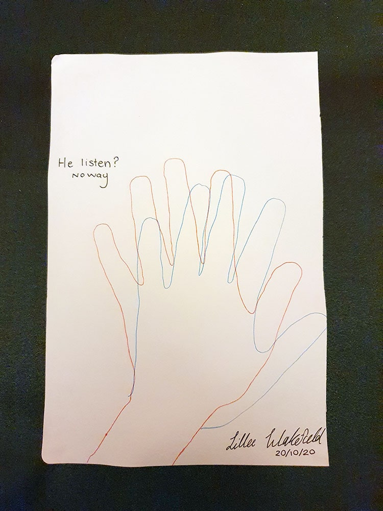 Overlapping drawn hand shapes in blue and orrange, conveys movement. Text says: He Listen? No way