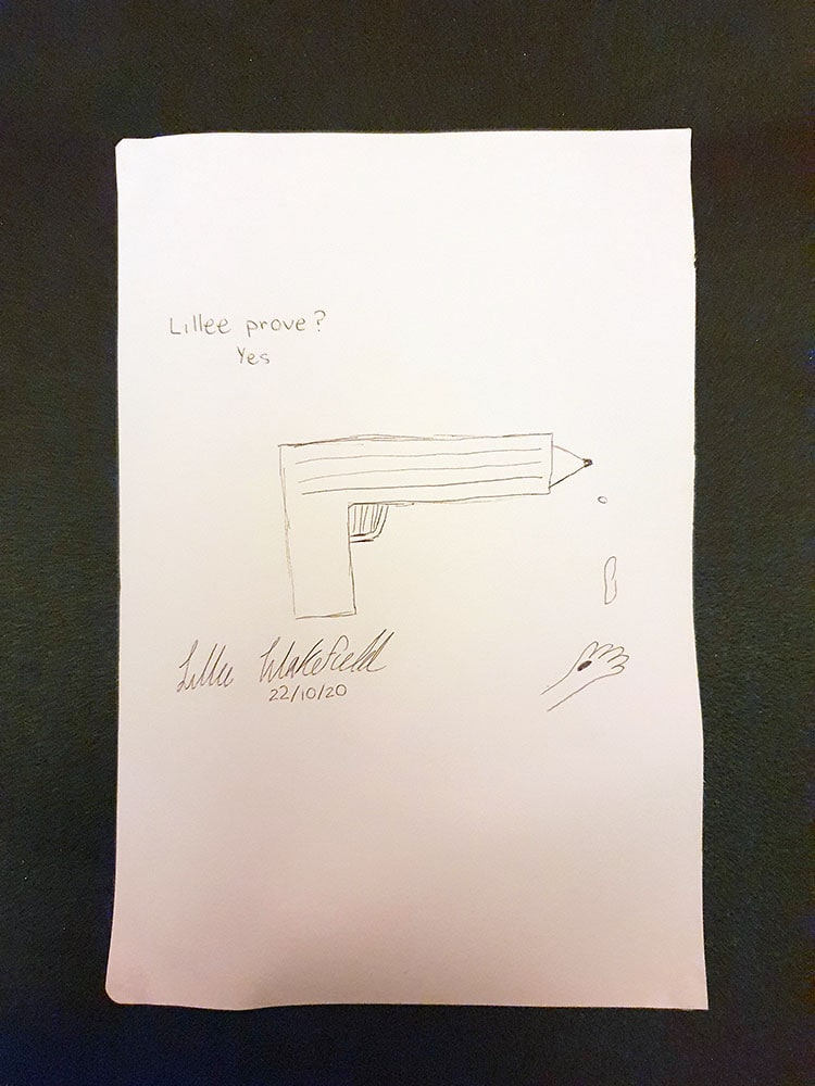 Signed and dated sketch of pencil/gun dripping onto a small hand. Text caption says: Lillee prove? Yes