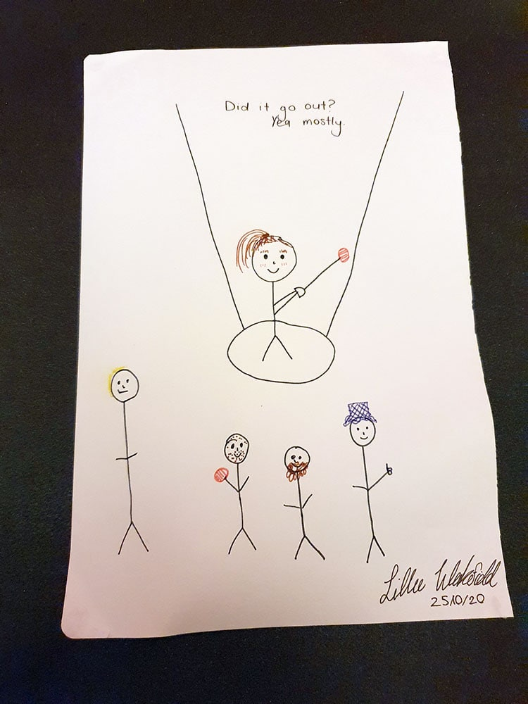Happy stick figures watch smiling hammer thrower. Caption says: Did it go out? Yea mostly.